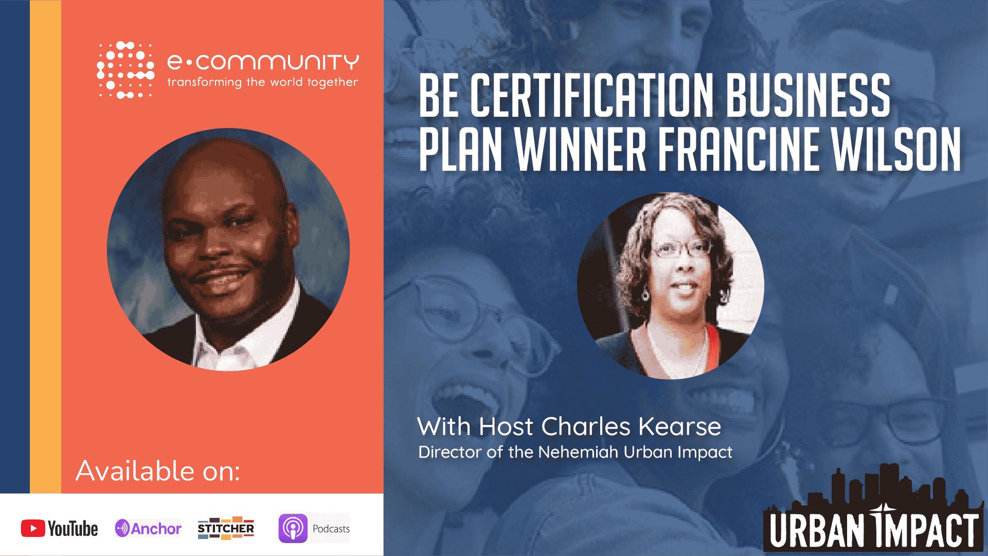 Biblical Entrepreneurship Certification Business Plan winner Francine Wilson | Urban Impact